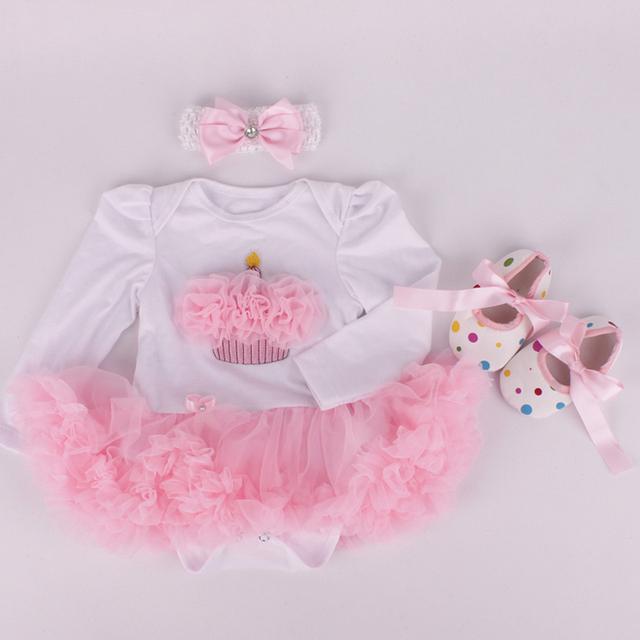 3 Unids por Juego Infantil Mameluco Del Cordón Rosa Pastel De Cumpleaños Del Bebé chicas Manga Larga Vestido Del Tutú Venda Zapato para 0-12months Envío gratis