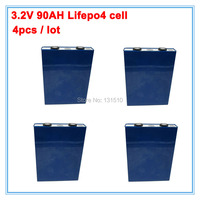 4pcs/lot deep cycle rechargeable lifepo4 battery 3.2v 90ah for solar power system electric car telecom UPS