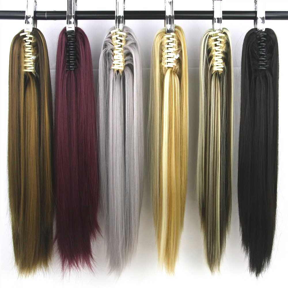 Soowee Straight Long Clip In Hair Extensions Blonde Black Little Pony Tail High Temperature Fiber Synthetic