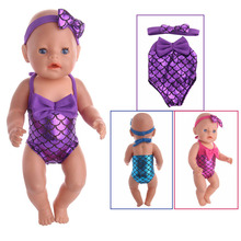 Doll Clothes Colorful Mermaid Set=Free Hair Band+Mermaid For 18 Inch American & 43 Cm Baby Our Generation