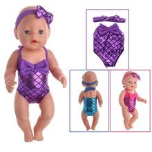 Rojo azul púrpura 3 colores traje de baño lindo, adecuado para 18 pulgadas American girl doll, 43cm zapf mejores accesorios para muñecas niño