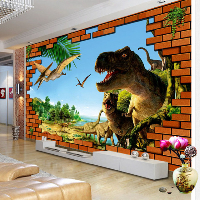 3d bande dessin e murales dinosaure mur cass brique wallpaper kid chambre salon toile de fond. Black Bedroom Furniture Sets. Home Design Ideas