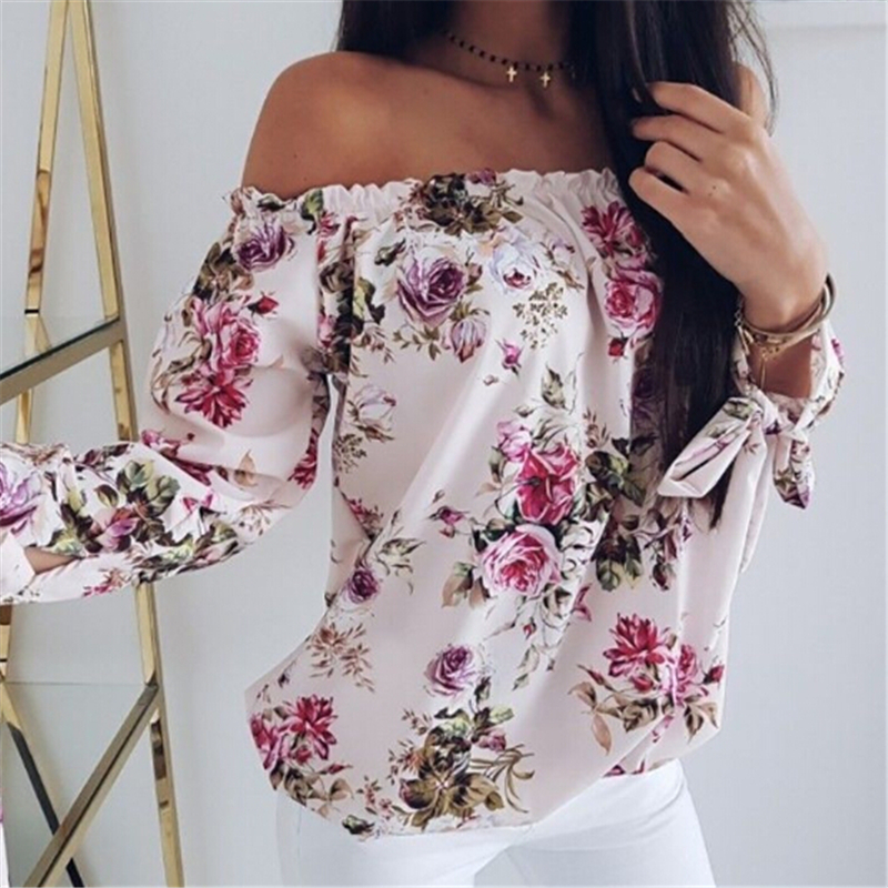 Women Off Shoulder Floral Blouse Shirt New Sexy Tops Lady Loose Flower Print Shirt Summer Fashion 3/4 Sleeve Slash Neck Clothes