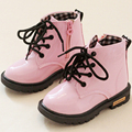 2016 Autumn Winter Boys Girls PU Leather Snow Boots Children Waterproof Ankle Boot Flat Side Zip Martion Shoes Toddler Footwear