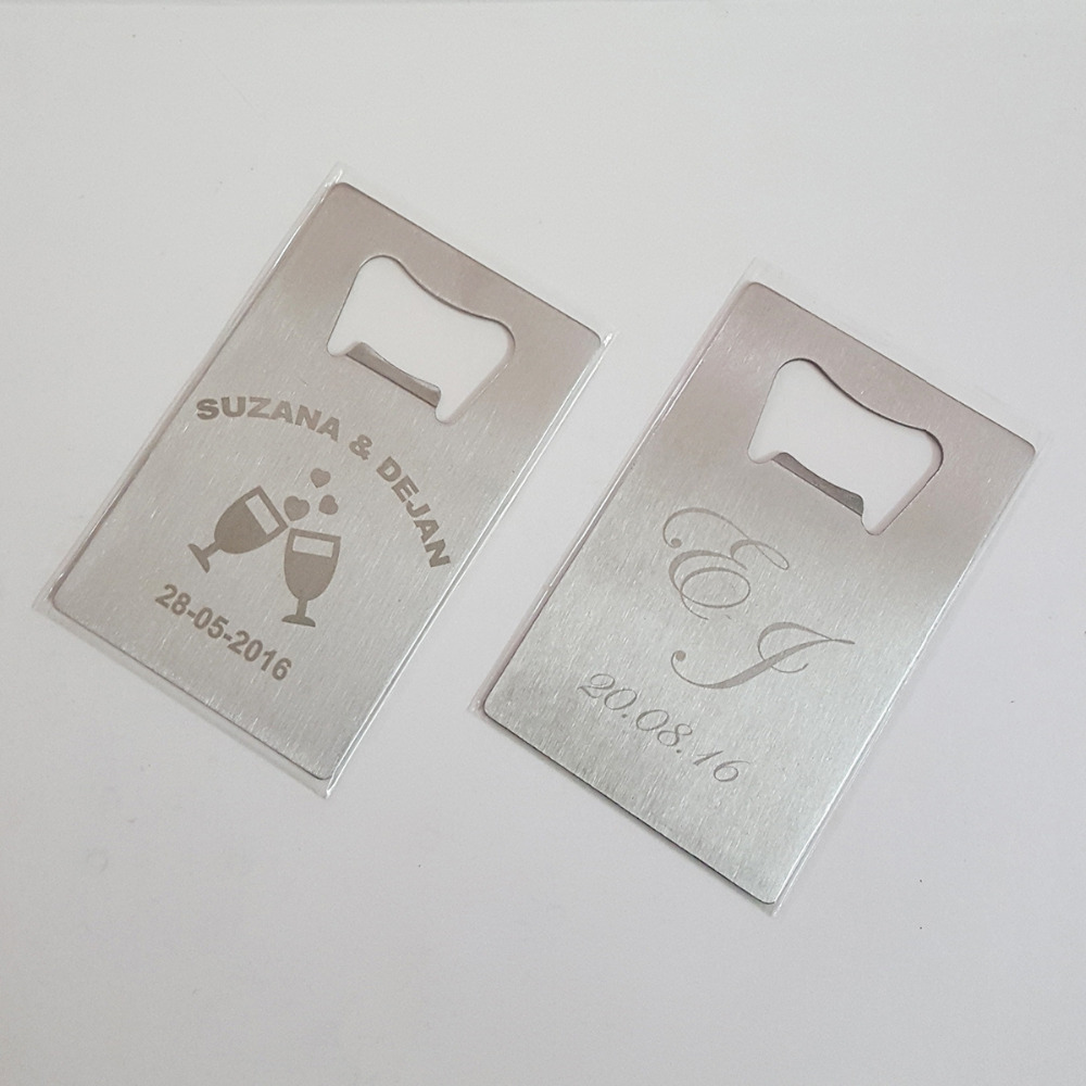 50x Personalized Wedding Favor Gift Credit Card Bottle Openers ...