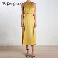 TWOTWINSTYLE Sexy Halter Midi Summer Dress Women Side Split Backless Spaghetti Strap Party Dresses Female Elegant Clothes New