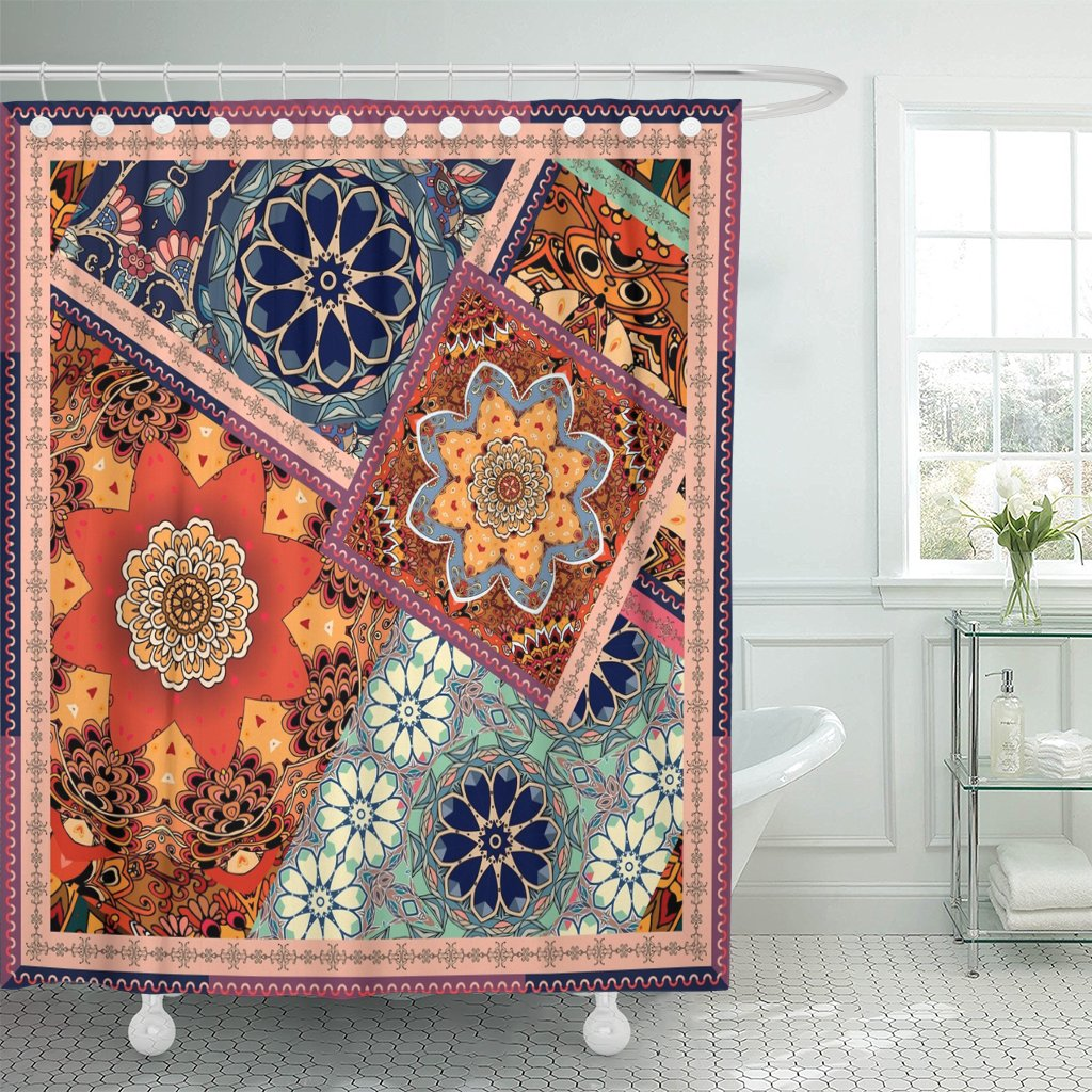 Shower Curtain Patchwork Pattern In Ethnic Flowers