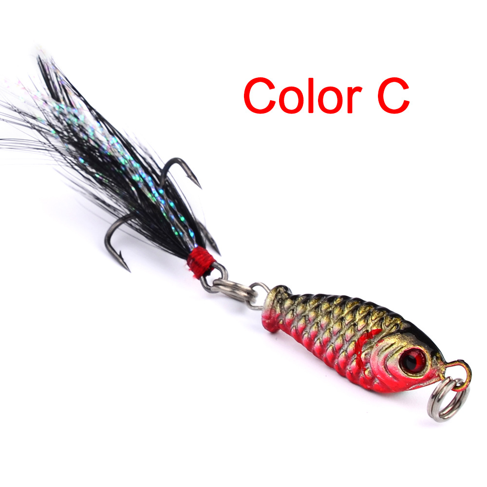1Pc Fishing Lures Feather Lead Fish 2 5cm 5 2gVIB winter Wobblers Artificial Fishing Tackle With Hooks For All Water Baits Pesca in Fishing Lures from Sports Entertainment
