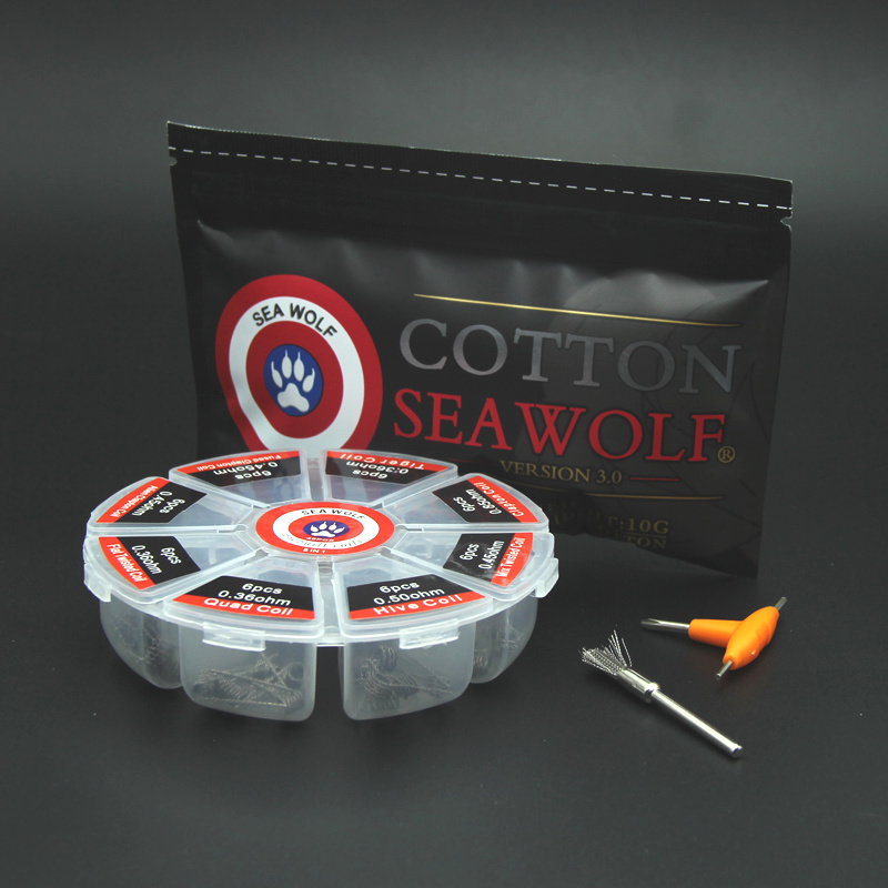 SEA WOLF 8 en 1 bobina prefabricada Clapton bobina Alien Tiger Hive Quad trenzado plano Alambre de calefacción fundido para DIY E Cig algodón orgánico