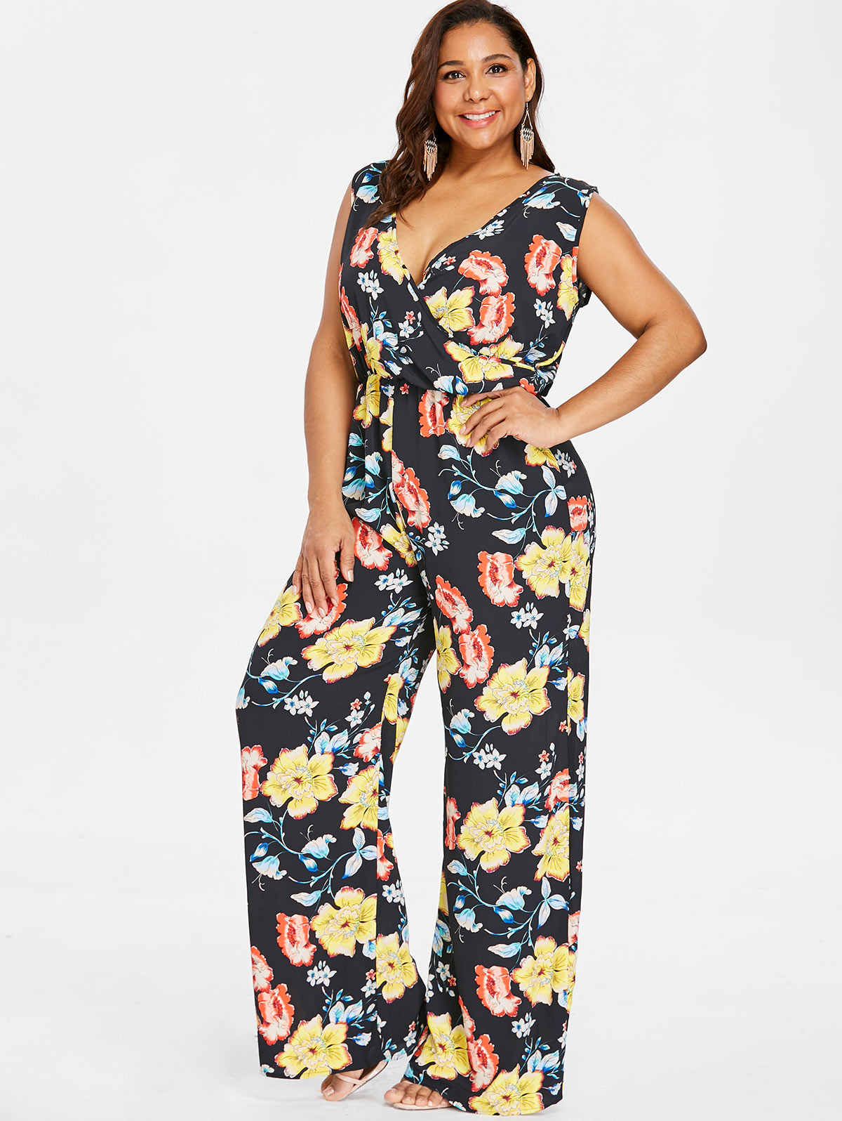 41ce39d556b6 Wipalo Plus Size Floral Floor-Length Straight Pockets Palazzo Jumpsuit  Sleeveless Plunging Neck Wide Leg