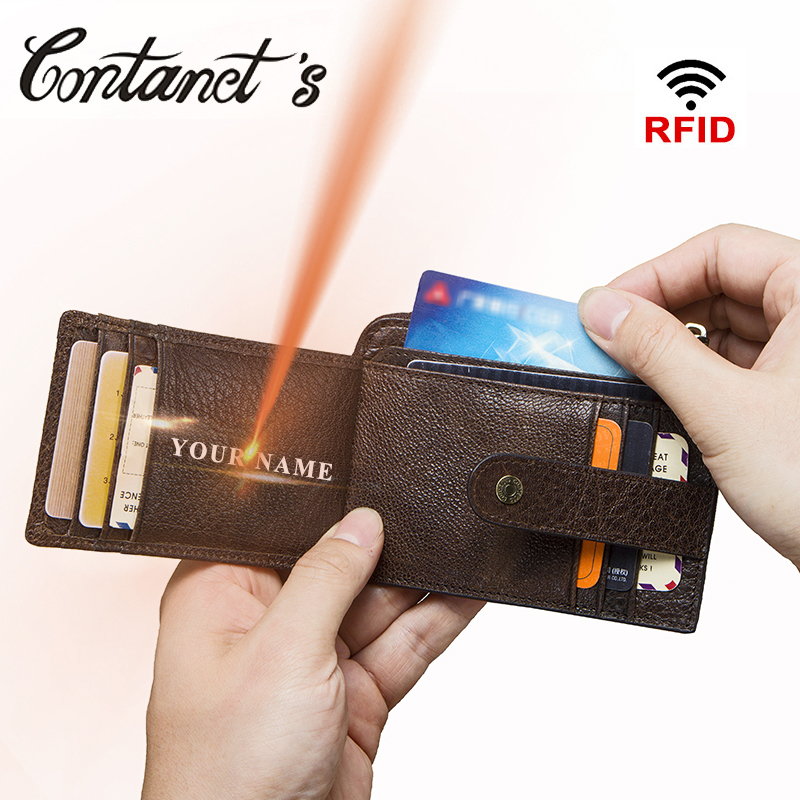 5347df6f648b 100% High Quality Genuine Leather Bank Card Wallet Credit Card Holder Men  ID Case Vintage Zipper Coin Purse Rfid Card Holder
