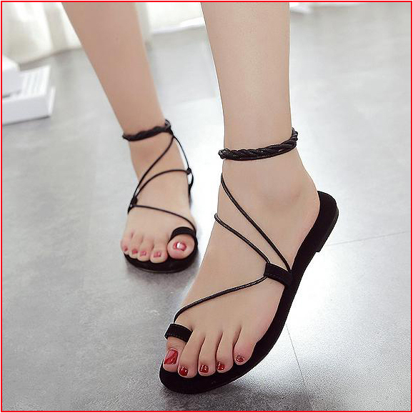 ab03e323ea77 2015 Summer New Style Sweet Lace Up Gladiator Sandals Women Fashion Solid  Flock Flat Sandals In Beige   Black