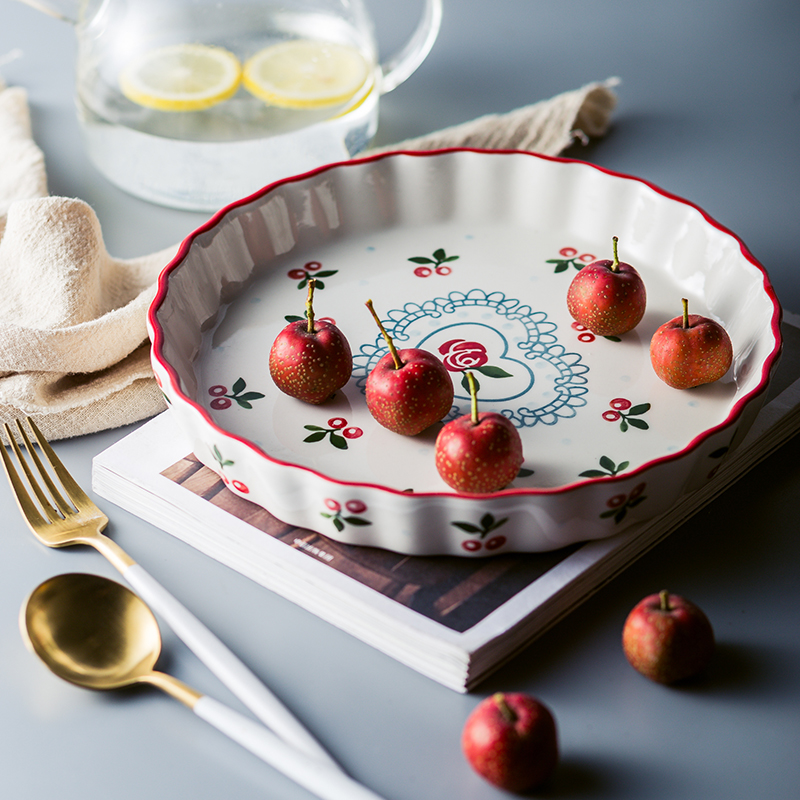 1pc Red Cherry Baking Plate Ceramic Dinner Dishes Pasta Rice Backed Plate Baking Tray Ovenware Dinner Plate 9.6 inch