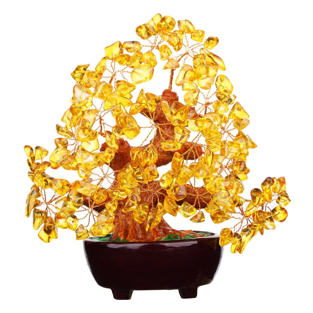 Feng Shui Natural Citrine Gem Stone Money Tree 7 Inch For