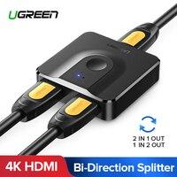 Ugreen Разделитель с мультимедийным интерфейсом высокой четкости с разрешением 4K HDMI переключатель с пультом дистанционного управления с двой...