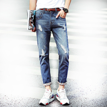"""Clearance Cheap""Hole Skinny New 9th Pants Skinny Jeans Men Hip Hop Jeans For Men Distressed Jeans Ankle-Lenth Pencil Pants"