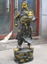 free shipping 30″inch copper Bronze Dragon Yuan bao Lucky wealth Guan Gong warrior Statue