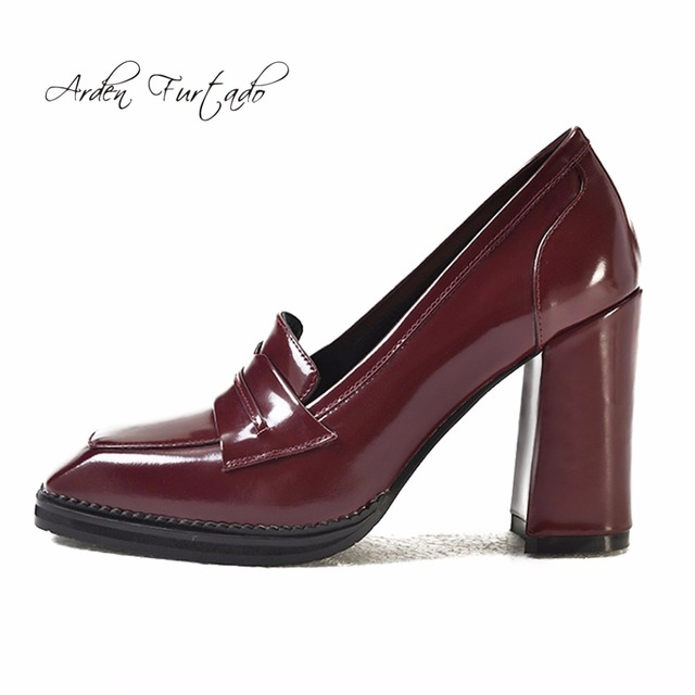 Arden Furtado 2018 spring autumn genuine leather slip on burgundy brown  office lady dress shoes high heels 10cm pumps square toe 0d4ce4f65a8f