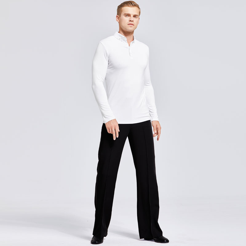 Latin Dance Shirts White Long Sleeve Tops Black Pants Men Performing Clothes Modern Dance Costume Male Practice Dancewear DN2854