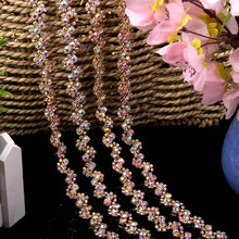 Flat Crystal Rhinestones Chain Applique for Dress Necklace Belt Clothes Bags Chain Rhinestone Trim DIY Sew On Silver AB/ Gold AB