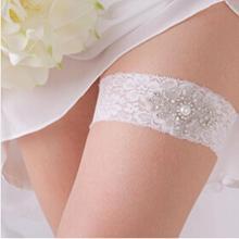 Lace Wedding Leg Garters Stockings Set For Women Stretch Rhinestone Crystal Bridal Prom Bride Hen Party