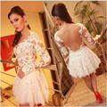 Robe De Cocktail Cute White Lace scoop Neckline Appliqued Long Sleeve Short Prom Dress Sexy Backless Cocktail Dresses