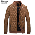 Winter Men's Coat  jacket PU Leather OverCoat Male Fashion Warm OutdoorWear Stand Collar Slim Thickening Snow Jackets Man