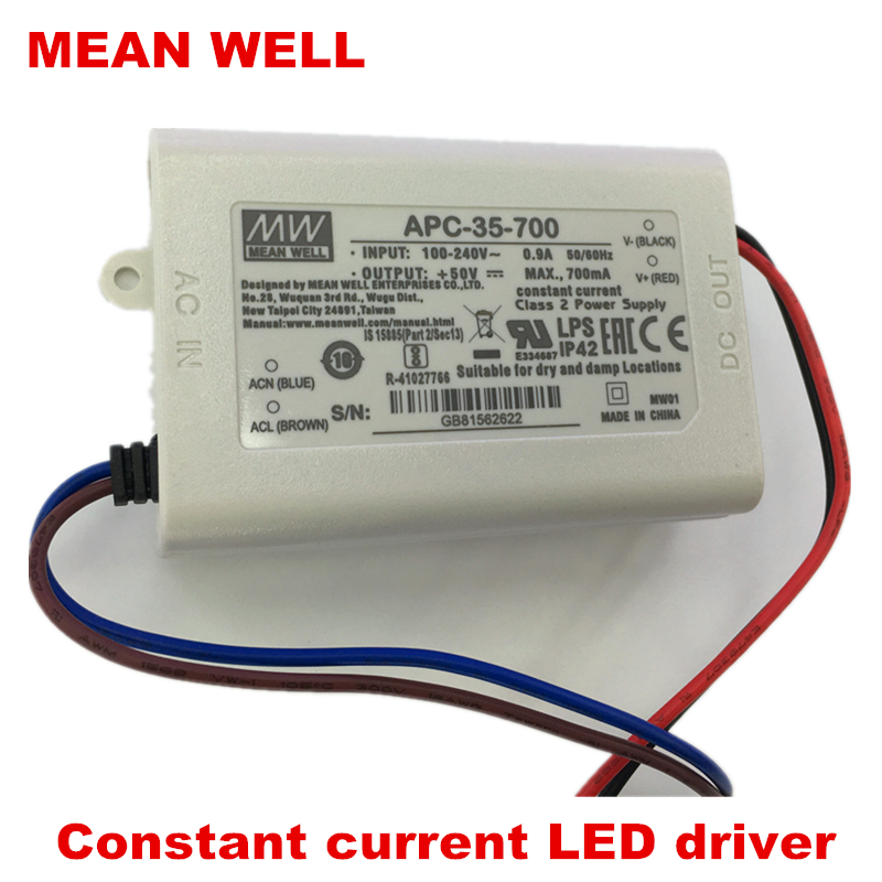 MEANWELL 30W35W LED power supply APC-35-350/500/700/1050 constant current Class 2 led driver IP42 original meanwell led driver apc 16 700 16 8w 9 24v 700ma led power supply constant current mean well apc 16 ip42