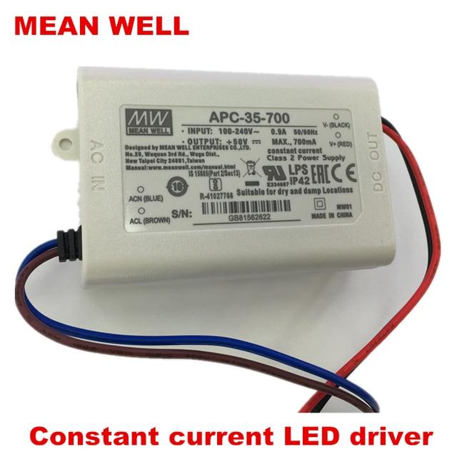 MEANWELL 30W35W alimentation LED d'approvisionnement APC-35-350/500/700/1050 courant constant Classe 2 LED conducteur IP42