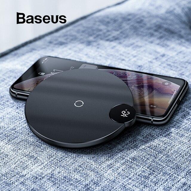 Cargador inalámbrico con pantalla Digital Baseus LED para iPhone X XR XS Max 8 Qi cargador rápido inalámbrico para Samsung Galaxy s10 Huawei P30