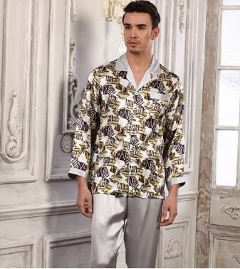 The New Style Men's Silk Pajama Suits Are 100% Mulberry Silk