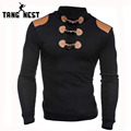 TANGNEST Fashion Design Men Sweater 2017 Hot Sale Patchwork Slim Pull Homme Mandarin Collar Long-sleeved Sweater Men MZL769