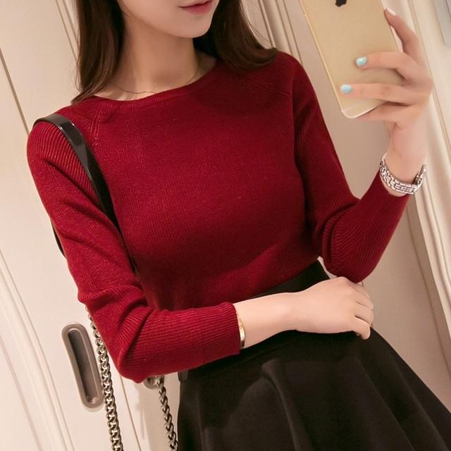 2016 Outono Inverno suéter de cashmere moda feminina sexy grande o-pescoço das mulheres camisolas e morna do pulôver de manga Comprida Camisola de Malha