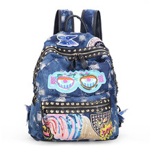 Embroidery rivet casual backpack designer genuine denim cloth women's mountaineering large capacity backpacks  bolsas femininas