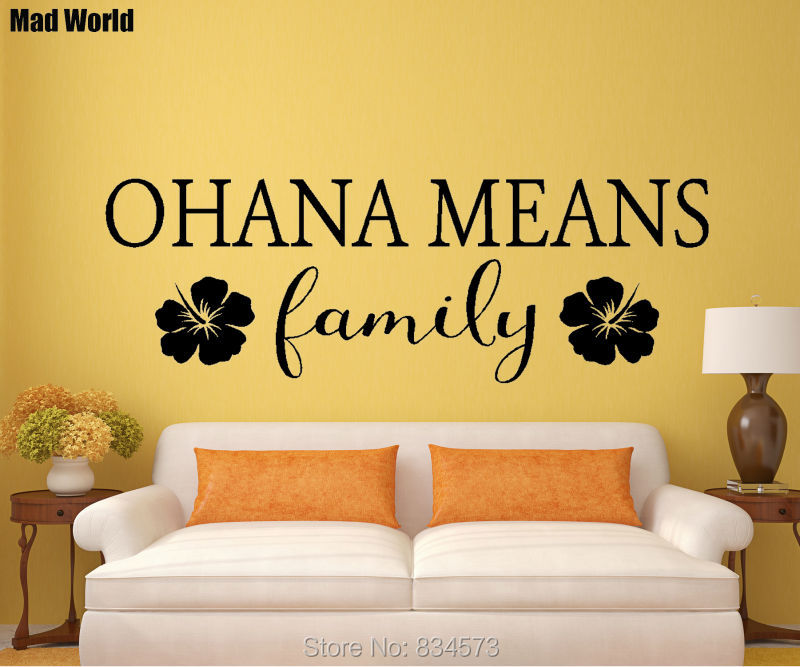 Mad World Ohana Means Family Hawaii Quote Wall Art Stickers Wall Decal Home DIY Decoration Removable Room Decor Wall Stickers-in Wall Stickers from ...