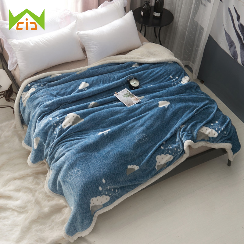 Wcic Super Soft Fleece Bed Cover Blankets Bedspread Sofa Couch Quilt Winter Warm Washable Bedsheet Double Layer Throw Blanket Nourishing The Kidneys Relieving Rheumatism Bedding