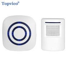 Sensor de movimiento infrarrojo PIR inalámbrico alarma + timbre receptor 90dB antirrobo, sistemas de alarma de seguridad para tienda en casa