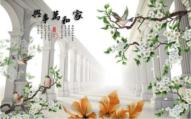 Us 15 95 48 Off 3d Wallpaper Custom Mural Non Woven 3 D Figure Tv Setting Wall Painting Flowers And Birds Murals Photo Wallpaper For Walls 3 D In