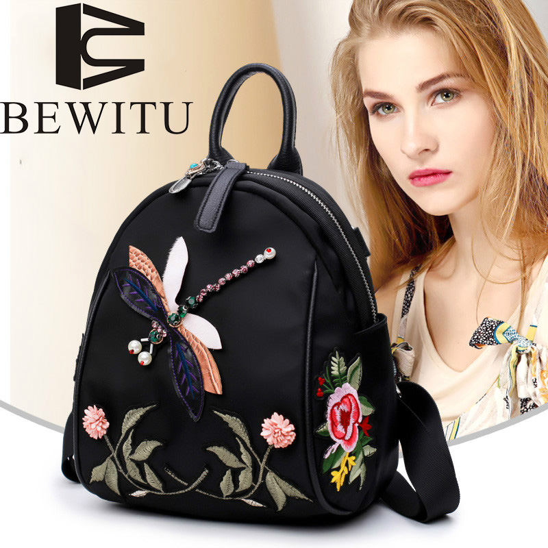 flowers embroidery backpack handmade rhinestones 3D dragonfly shoulder bag leisure retro Oxford cloth national style backpack