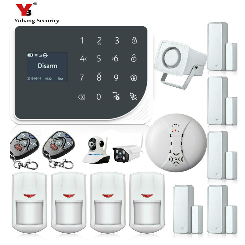 YoBang Security Smart WIFI Home Security Alarm System Alarm Wireless Outdoor Indoor IP Camera Smoke Fire Sensor Detector .