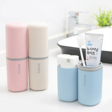 LF71009 wheat straw travel toothbrush holder storage tooth brush  wash cup mouthwash