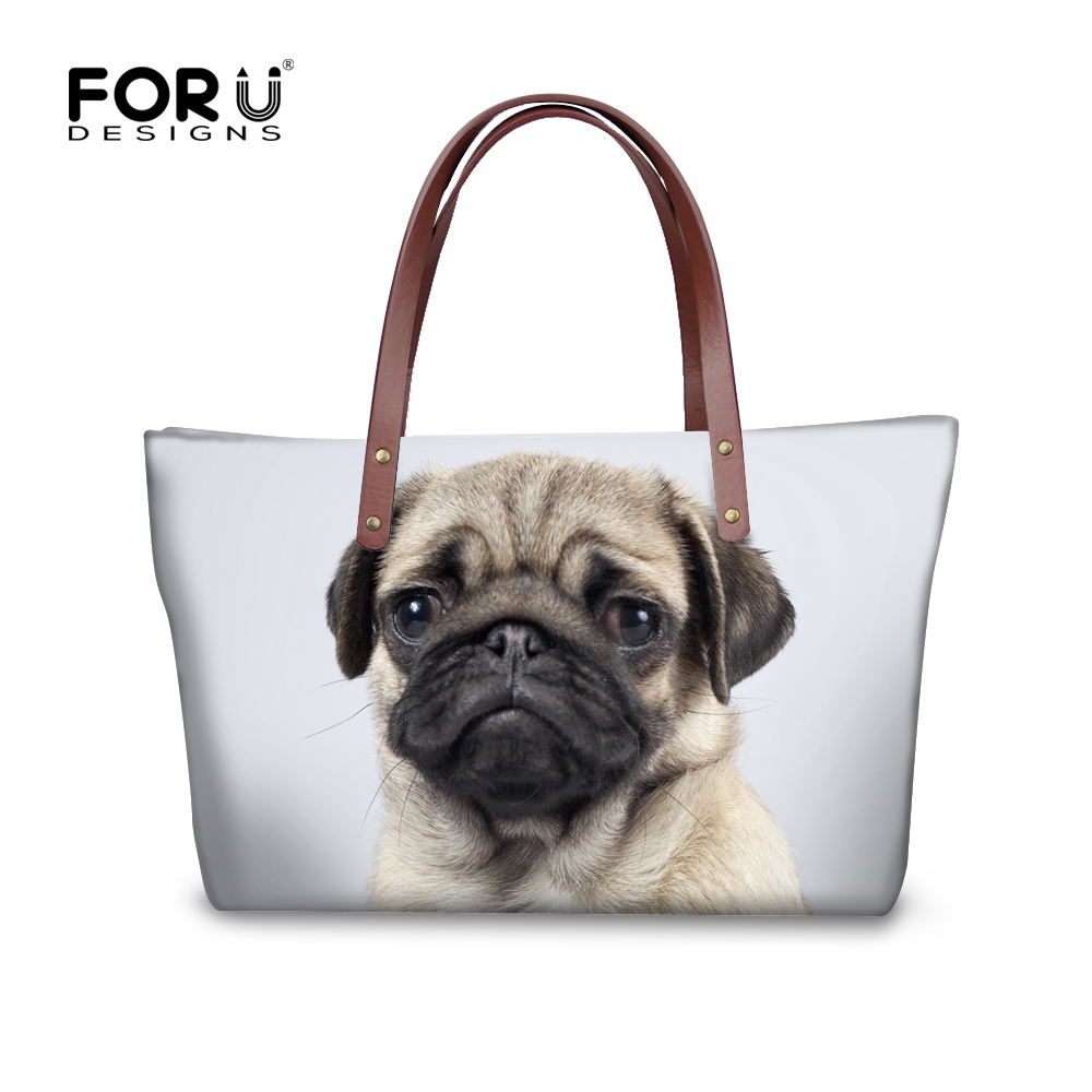 FORUDESIGNS Cute 3D Animal Dog Pug Dog Printing Fashion Women Messenger Bags Casual Beach Shoulder Bags for Ladies Female Bolsa cute 18 inch animal cat dog printing