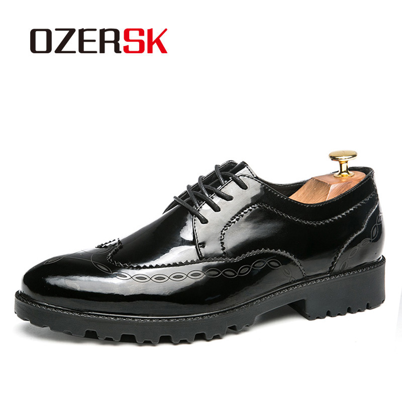 OZERSK Brand 2019 Fashion Bullock Carved Oxford Shoes High Quality Breathable Patent Leather Dress Shoes Lace-up Men ShoesOZERSK Brand 2019 Fashion Bullock Carved Oxford Shoes High Quality Breathable Patent Leather Dress Shoes Lace-up Men Shoes