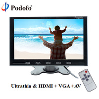 Podofo 9 LCD Monitor TFT Mini Color Monitor 2 Video Input Car Monitor Display Screen For PC CCTV HDMI AV In Security Monitor