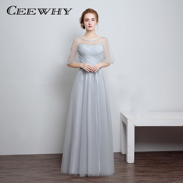 CEEWHY Light Gray 4 Style Half Sleeve A-Line Tulle 2017 Party Elegant  Evening Dresses Long Wedding Party Dress Formal Gowns 0d64e23f69d7