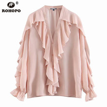 ROHOPO Pink Chiffon Autumn Blouse Women Butterfly Long Sleeve Draped Baggy Ladies Chic Cardiagn Buttons Top Shirt #BM2088