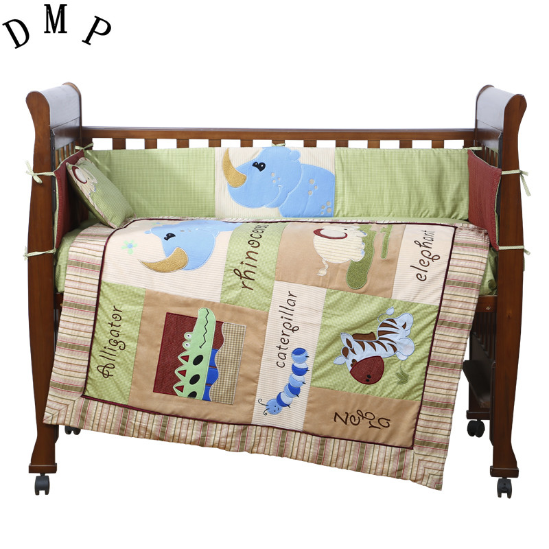7PCS Embroidery cute Baby crib bedding set 100% cotton included flat sheets cot bedding,include(bumper+duvet+sheet+pillow) promotion 6pcs baby bedding set cot crib bedding set baby bed baby cot sets include 4bumpers sheet pillow