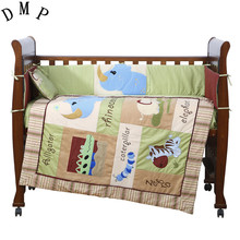 7PCS Embroidery cute Baby crib bedding set 100% cotton included flat sheets cot bedding,include(bumper+duvet+sheet+pillow)