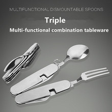 Multifunction Outdoor Camping Picnic Tableware Folding Fork with Spon and Knife Bottle Opener Stainless Steel Cutlery set