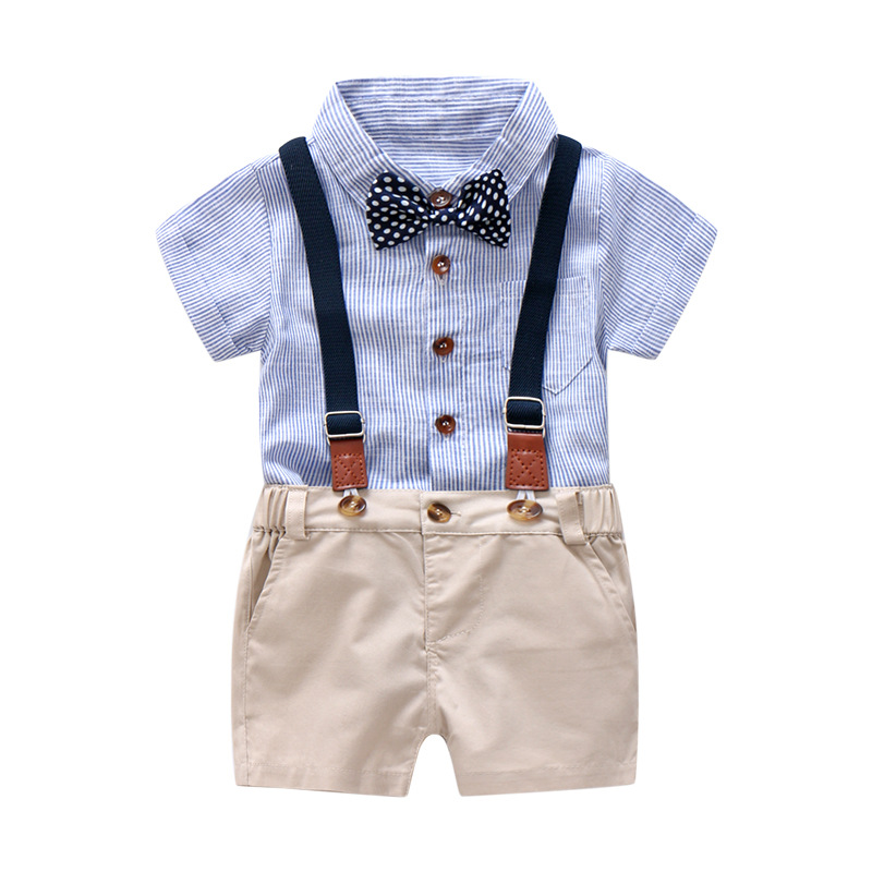 Baby Boy Gentleman Clothes Set Summer Suit For Toddler Kid Formal Party Bow Bodysuit Set 0-24 Month Infant Boy Striped Clothing knot detail striped bodysuit